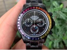 Replica Rolex Daytona Rainbow Black MAD PVD TWF Best Edition on PVD Bracelet A7750