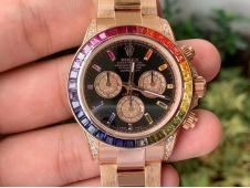 Replica Rolex Daytona 116595RBOW Rose Gold Rainbow Crystal Black Dial BLF Best A4130