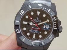 Replica Rolex Submariner BLAKEN SINGLE RED IPKF 1:1 Best Black Dial on PVD Bracelet A2836