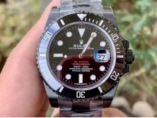 Replica Rolex Submariner BLAKEN DOUBLE RED IPKF 1:1 Best Black Dial on PVD Bracelet A2836