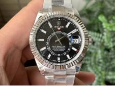 Replica Rolex Sky-Dweller 326934 Noob 1:1 Best Black Dial on SS Bracelet A23J