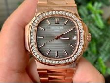 Replica Patek Philippe Nautilus 5711 Rose Gold PPF 1:1 Best Brown Dial Diamonds Bezel 324CS V4