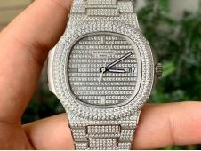 Replica Patek Philippe Nautilus 5719/1G Full Diamond PF 1:1 Best Ice Out Bracelet A324 Clone