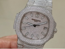 Replica Patek Philippe Nautilus 5719 Full Diamond DMF V3 Best Ice Out Bracelet A324 Clone