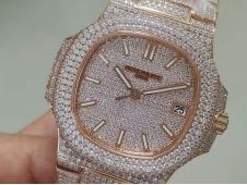Replica Patek Philippe Nautilus 5719 Rose Gold Full Diamond R8F V3 Best Ice Out Bracelet A324 Clone