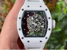 Replica Richard Mille RM055 Titanium White Ceramic ZF 1:1 Best Skeleton Dial on White Rubber NH05A