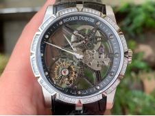 Replica Roger Dubuis Excalibur Rddbex0392 SS BBR Best Diamond Bezel Skeleton Dial on Black Leather A2136 Tourbillon