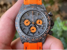 Replica Rolex Daytona DIW Carbon Noob 1:1 Best Black Orange Dial Orange Nylon Strap SA4130