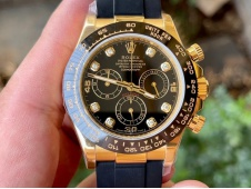 Replica Rolex Daytona 116518 Noob 1:1 Best Yellow Gold Plated 904L Black Diamonds Dial on Rubber SA4130 V4