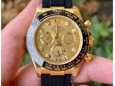 Replica Rolex Daytona 116518 Noob 1:1 Best Yellow Gold Plated 904L Gold Diamonds Dial on Rubber SA4130 V4