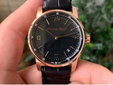 Replica Audemars Piguet AP CODE 11.59 Rose Gold 15210 OXF Best Black Dial on Black Leather A4302