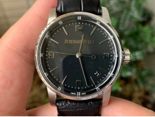 Replica Audemars Piguet AP CODE 11.59 SS 15210 OXF Best Black Dial on Black Leather A4302