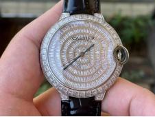 Replica Cartier Ballon Bleu Full Paved Diamonds Ice out on Black Leather Miyota 9015