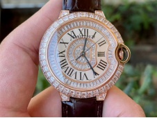 Replica Cartier Ballon Ballon Bleu Rose Gold Full Paved Diamonds Ice OUT on Brown Leather Miyota 9015