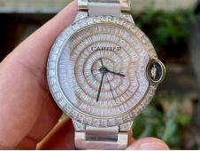 Replica Cartier Ballon Bleu Full Paved Diamonds Ice out on SS Bracelet 9015