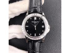 Replica Patek Philippe Calatrava 5298P SS T Diamonds Bezel ZF 1:1 Best Black Dial on Leather A324CS
