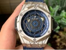 Replica HUBLOT Big Bang Sang Bleu Titanium WWF 1:1 Blue Skeleton Dial on Gummy Strap HB1213