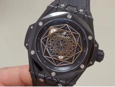 Replica HUBLOT Big Bang Sang Bleu Black DLC Titanium WWF 1:1 Black Skeleton Dial Gummy Strap HB1213