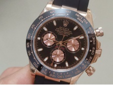 Replica Rolex Daytona 116515 Rose Gold JHF Best Black Dial on Rubber Strap A4130