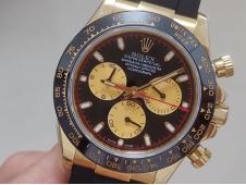 Replica Rolex Daytona 116518 Yellow Gold JHF Best Black Dial on Rubber Strap A4130