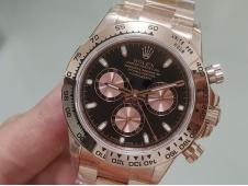 Replica Rolex Daytona 116505 Rose Gold JHF Best Edition Black Dial on RG Bracelet A4130