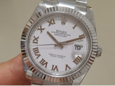 Replica Rolex DateJust 41mm 126334 BP Factory Best White Roman Dial Oyster Bracelet A3235