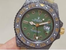 Replica Rolex GMT II DIW Desert Black Carbon Case Green Dial OMF A3186 CHS