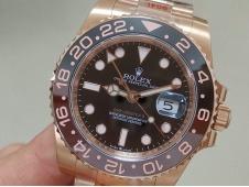 Replica Rolex GMT-Master II 126715 CHNR Rose Gold 904L Steel EWF 1:1 Best SH3186 Correct Hand Stack