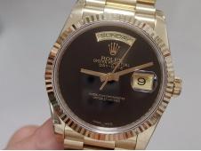 Replica Rolex DayDate 36 Yellow Gold BPF Best Black Dial on President Bracelet A2836