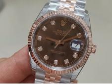 Replica Rolex DateJust 36mm SS/Rose Gold 126233 EWF 1:1 Best Brown Dial A3235