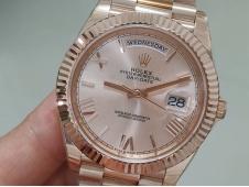 Replica Rolex DayDate 40mm Rose Gold 228235 EWF Best on SS President Bracelet A3255
