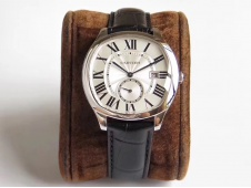 Replica Cartier Drive de Cartier GSF 1:1 Best White Dial on Black Leather A23J