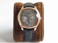 Replica Cartier Drive de Cartier Rose Gold GSF 1:1 Best Gray Dial on Black Leather A23J