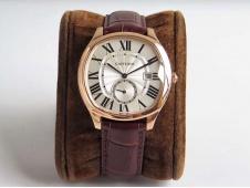 Replica Cartier Drive de Cartier Rose Gold GSF 1:1 Best White Dial on Black Leather A23J