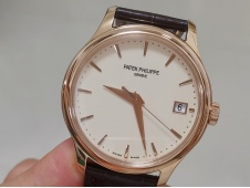 Replica Patek Philippe Calatrava 5227R Rose Gold 3KF 1:1 Best White Dial on Leather A324 V2