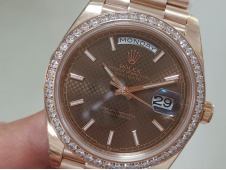 Replica Rolex DayDate 40mm Rose Gold Brown Dial Diamond Bezel EWF A3255 Mod