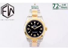 Replica Rolex Explorer 1 124273 36mm 904L Gold/SS Black Dial EWF A3230