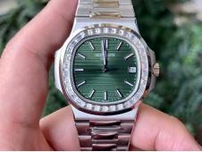 Replica Patek Philippe Nautilus Jumbo 5711 Green Dial Diamond Bezel 3KF 324